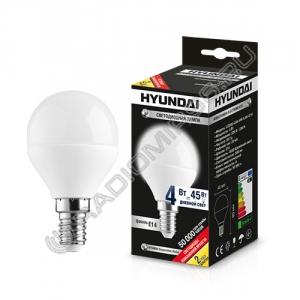 Лампа светодиодная Hyundai LED02-G45-4W-4.5K-E14