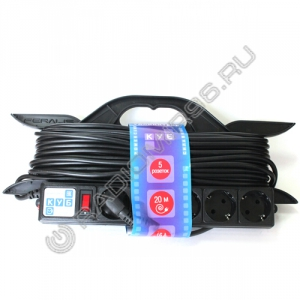 Сетевой удлинитель PowerCube 5 розеток 20м на каркасе