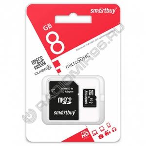 Карта памяти microSDHC SMARTBUY 8GB class 10 с адаптером