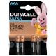 Батарейка DURACELL LR03 ULTRA(TURBO) 4BL ( 4/40 )