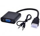 Кабель шт. HDMI - гн. VGA + AUX 20 см