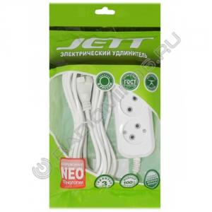 Сетевой удлинитель JETT РС-2-10 3м ПВС 2*0,75