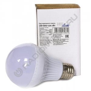 Лампа светодиодная ЭкоСвет 7W E27 A60 3000K