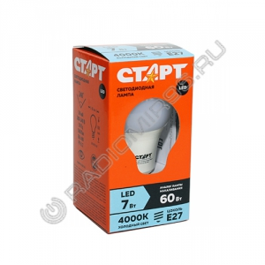 Лампа светодиодная СТАРТ ECO LEDGLSE27 7W / 60Вт 40