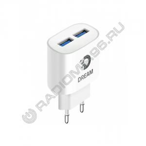 Зарядное устройство сетевое DREAM DRM-PA5 2USB 2A