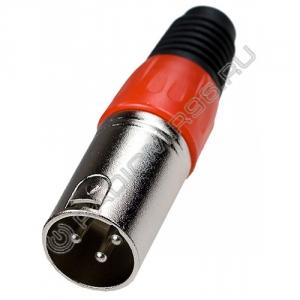 Штекер XLR 3P цанга, красный