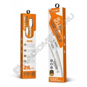 Кабель шт. USB A - шт. Lightning 1м LDNIO LS391 2.4A СЕРЕБРО