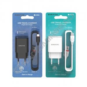 Зарядное устройство сетевое BOROFONE BA20A 1USB + кабель MICRO USB