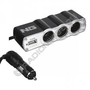 Разветвитель прикуривателя 738-019 3 гнезда + USB 60W 2.1A