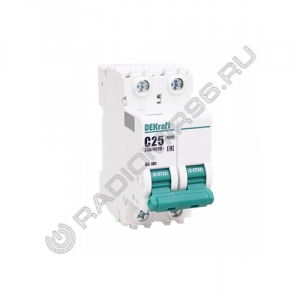 Автоматический выключатель DEKraft 2P 25A C BA-101 4,5кА 11068