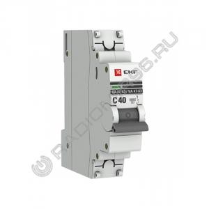 Автоматический выключатель EKF PROxima 1P 40A C BA 47-63 4,5кА