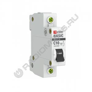 Автоматический выключатель EKF BASIC 1P 10A C BA 47-29 4,5кА